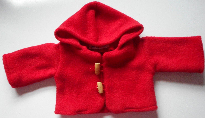 Coat - hooded, red fleece, in 3 sizes