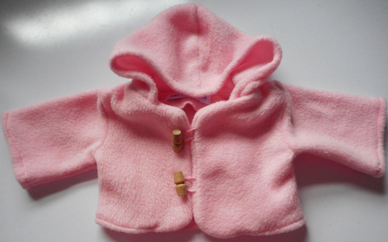 Coat - hooded, pale pink fleece, in 3 sizes