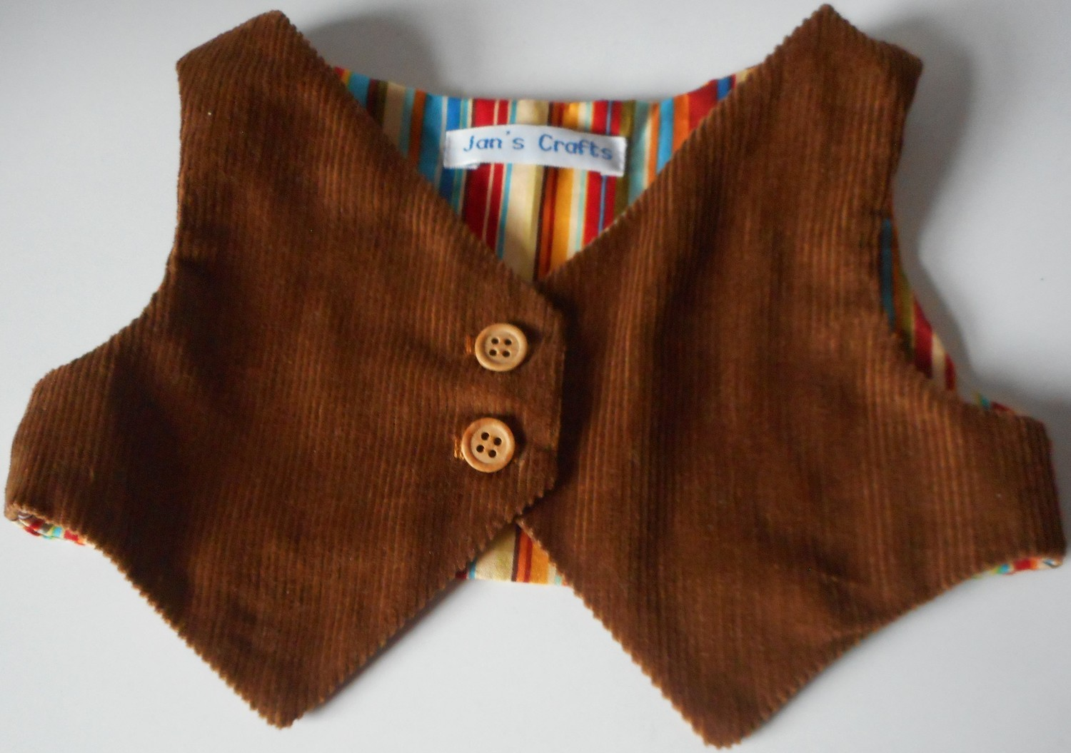 Waistcoat - Tan corduroy with striped lining