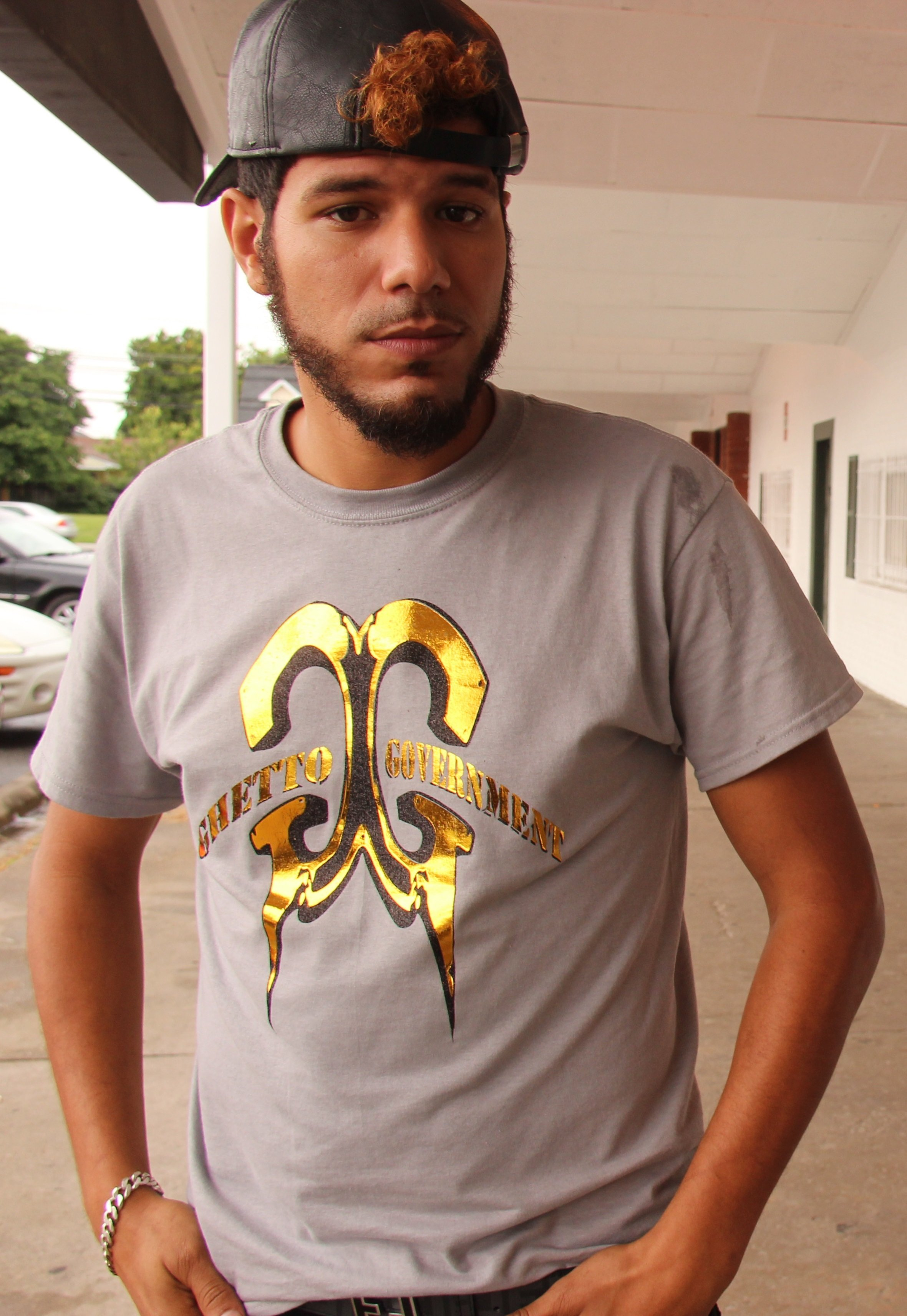 Grey Ghetto Government T-Shirt with Gold/blk Logo 002