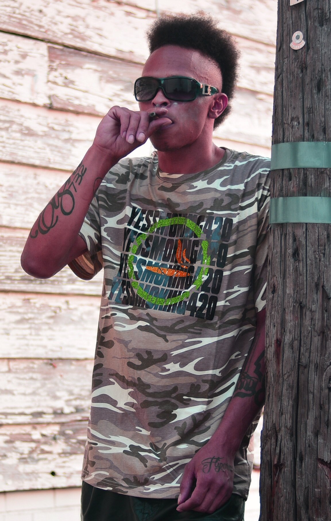Yes Smoking 420 Camo (sand) Black Knockout Design 00003