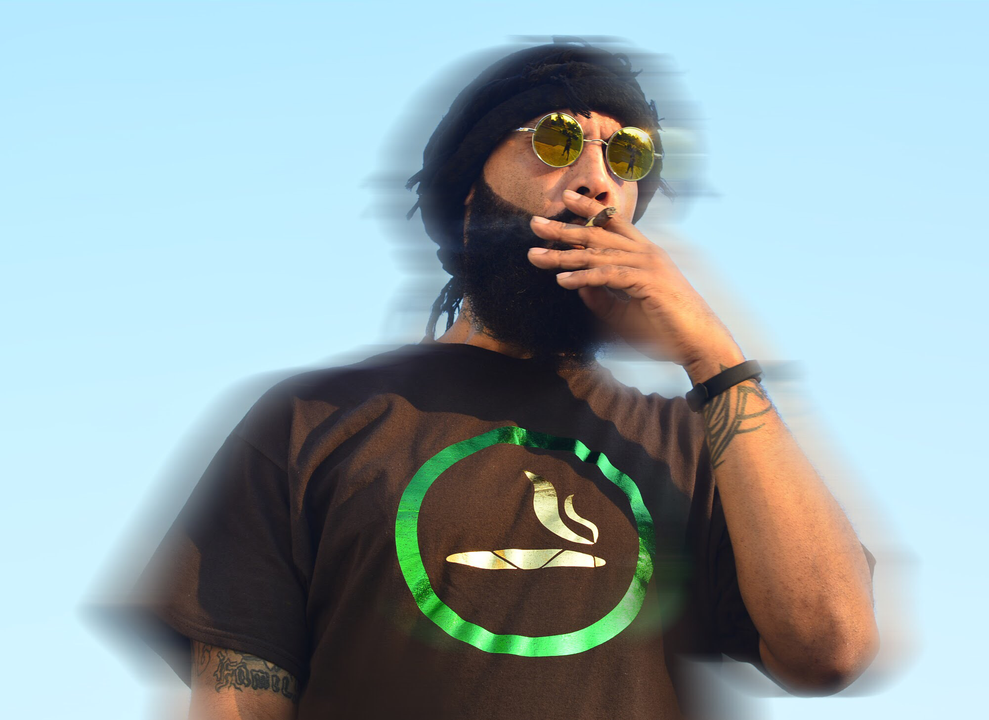 Brown Yes Smoking  420 T-Shirt All Foil Logo