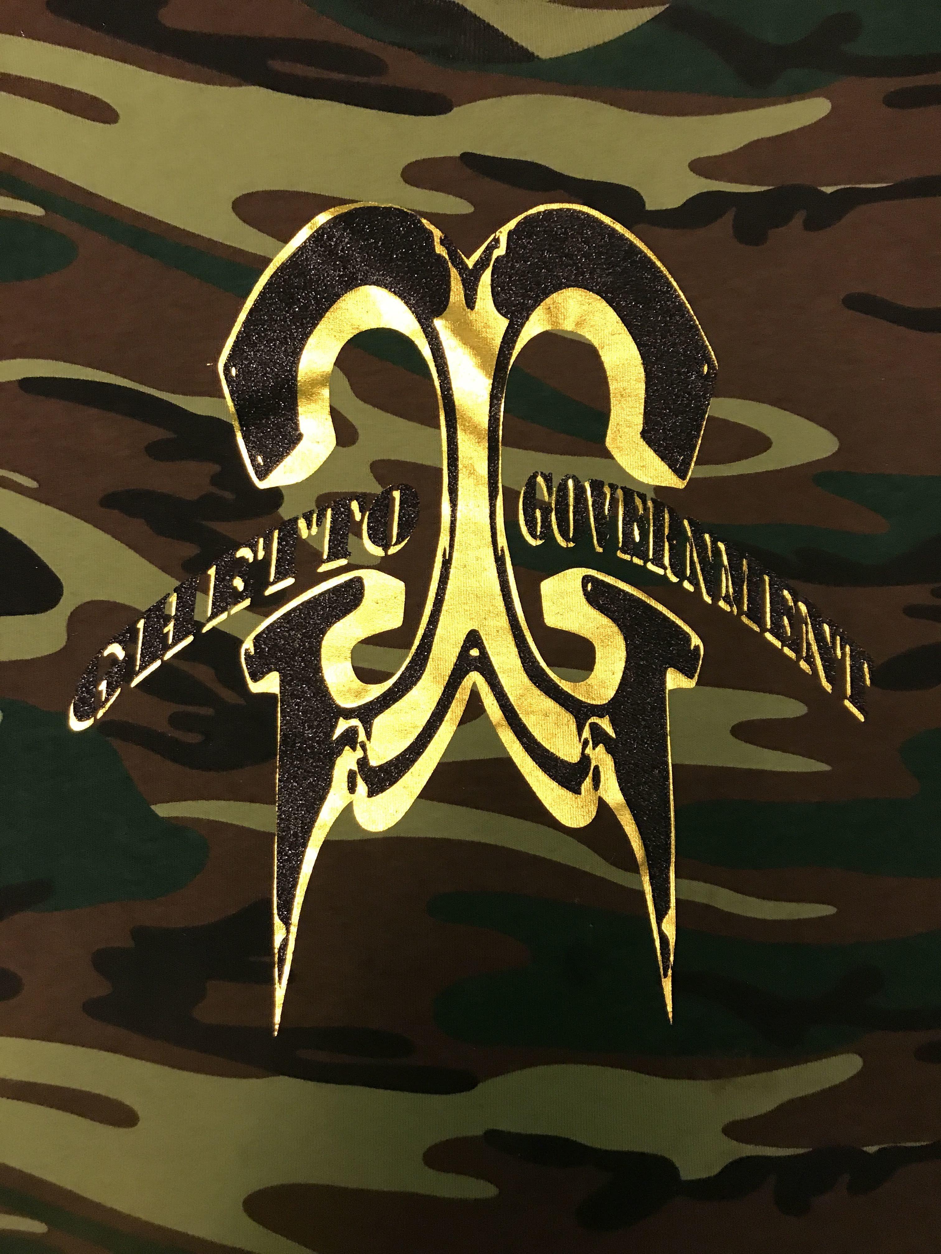 Ghetto Government  (green/sand) CAMO Tee Gld/Blk Logo 00018