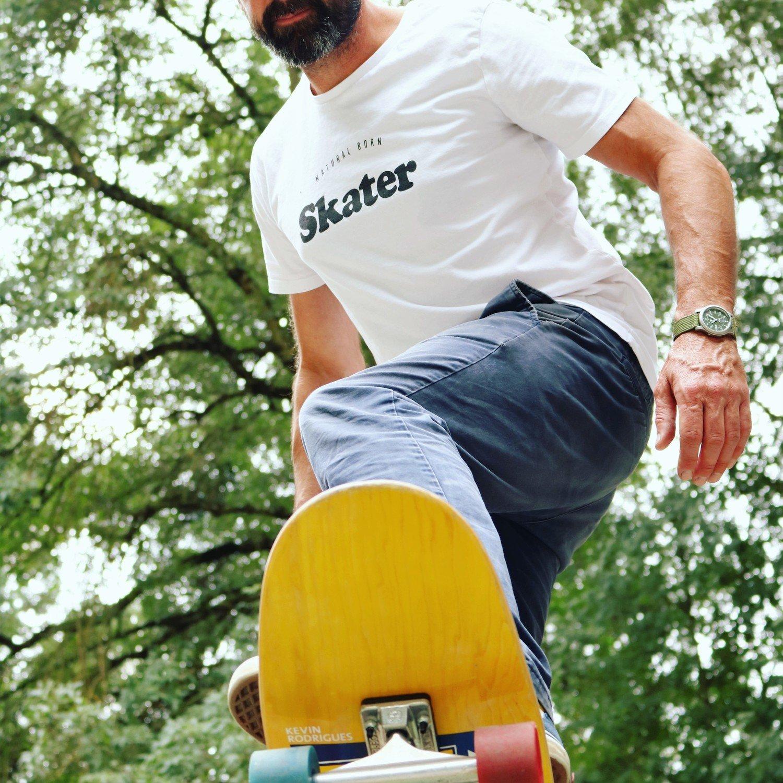 Tee-shirt Natural Born SKATER Homme Noir
