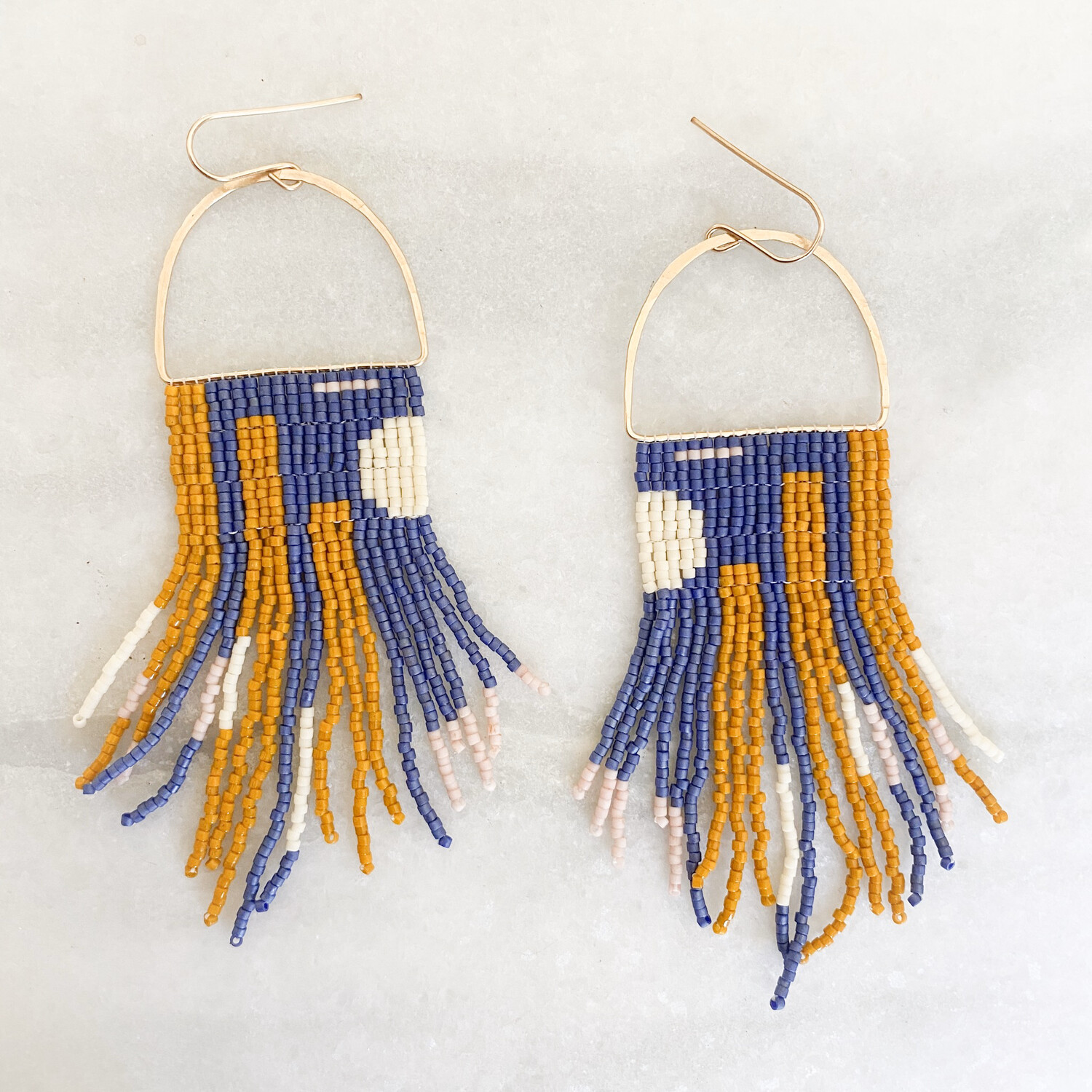 Navy And rust Hand Beaded Earrings By Blackbird Dagger