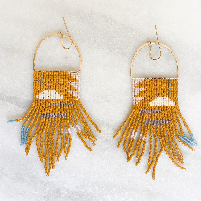 Rust Colored Fringe Beaded Earrings By Blackbird Dagger