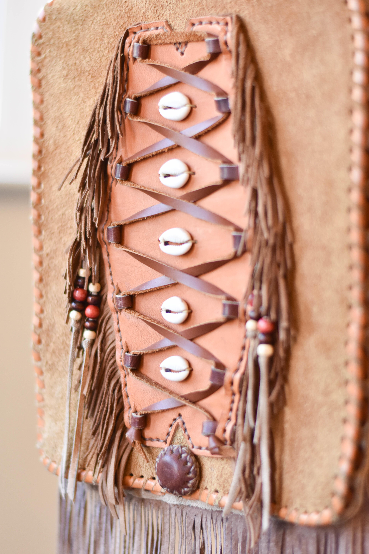 leather boho fringe bag