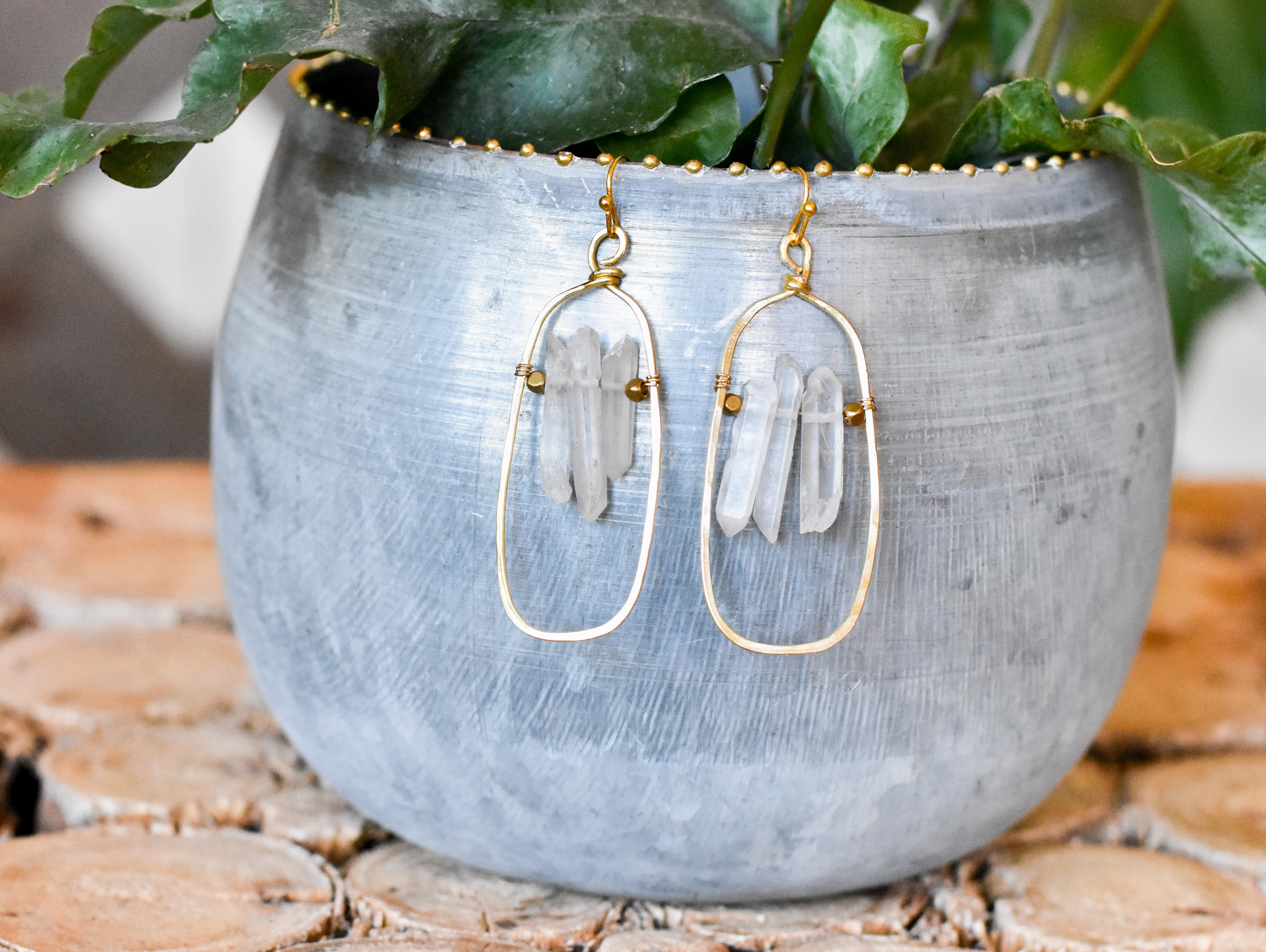 raw quartz rectangle earrings  CEJ8VY1VS255E