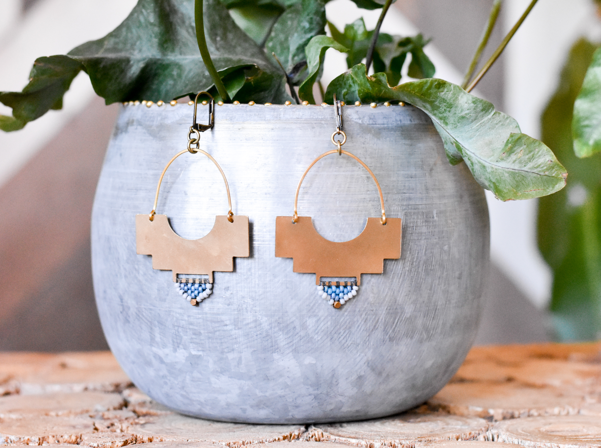 Terra shield earrings