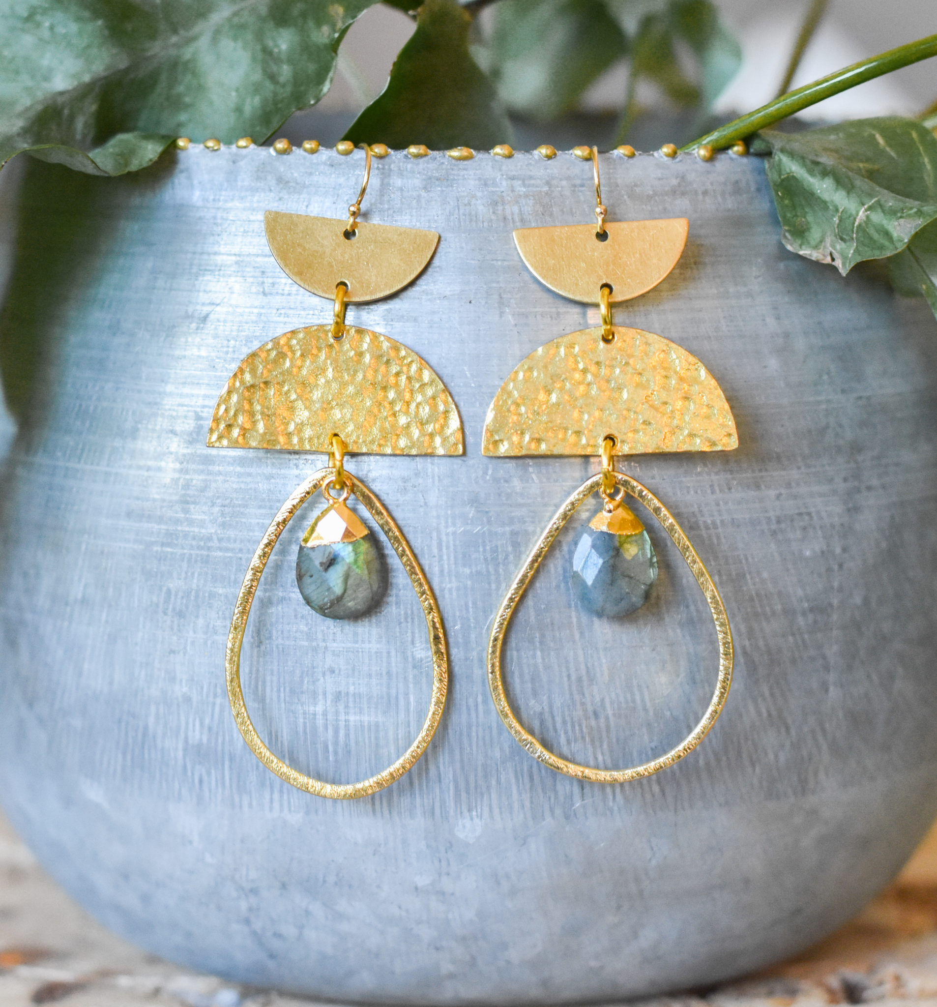 hoops with 24k dipped stone hammered geometrics