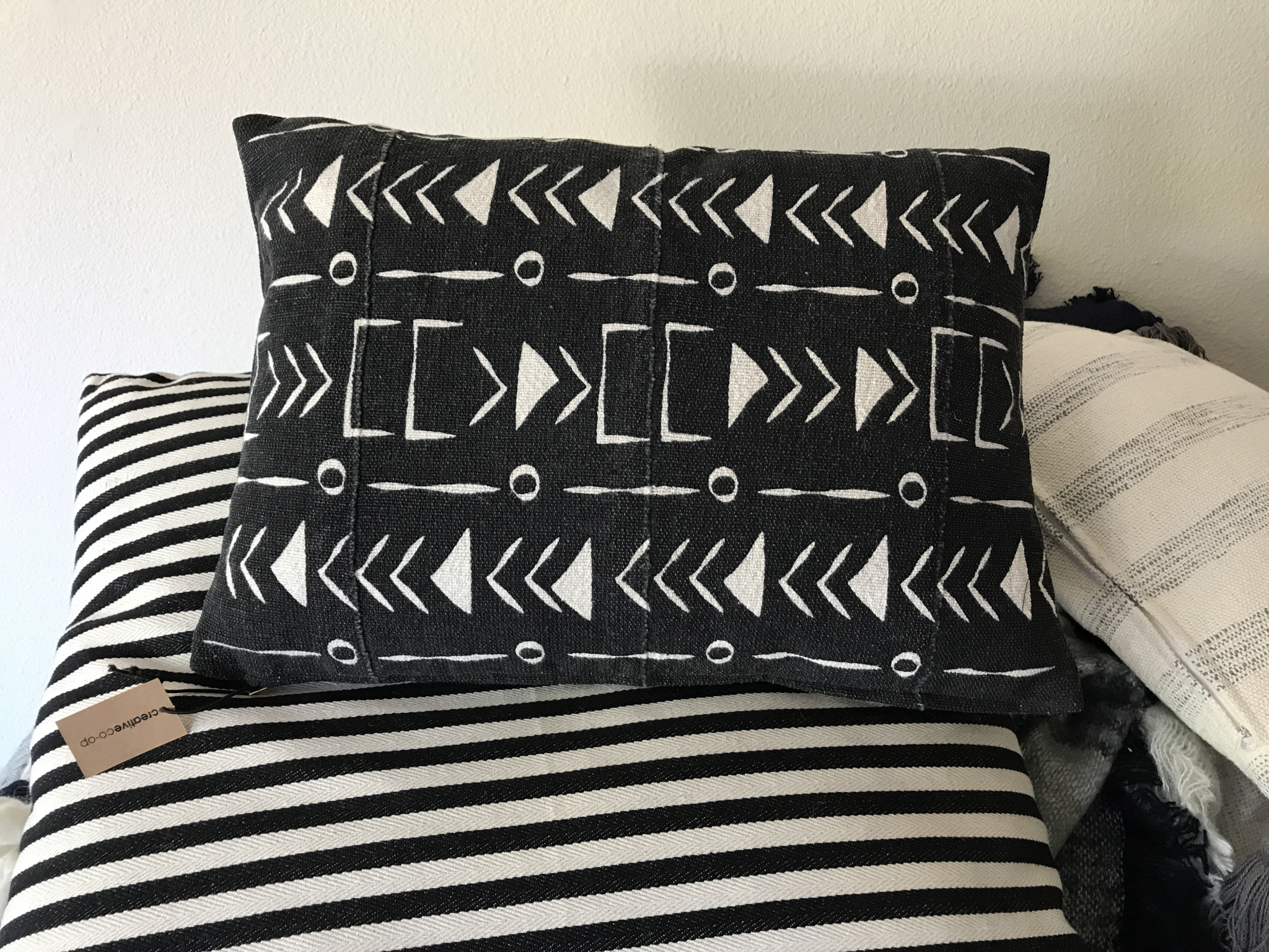 Mud Cloth Pillow Black and White Da9835a