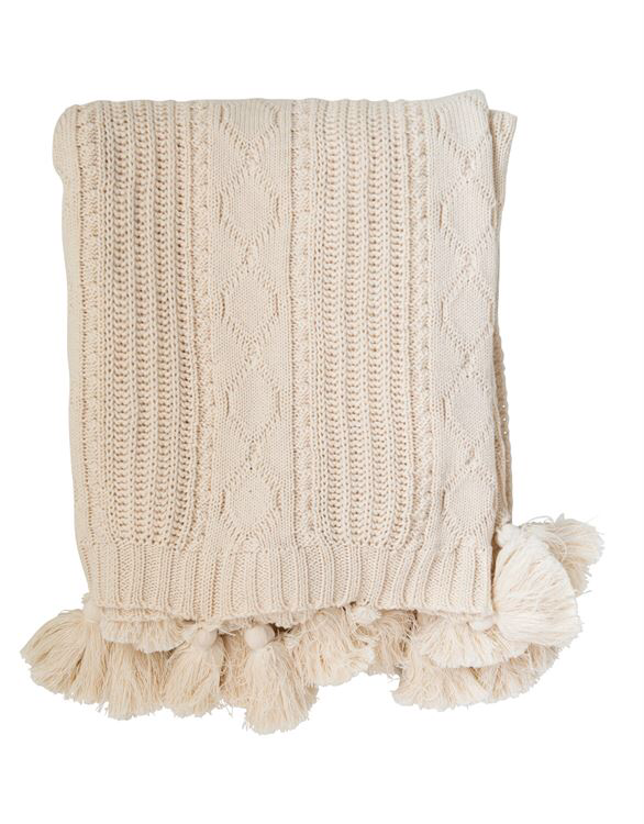 Cotton Knit Cable Throw with Tassels