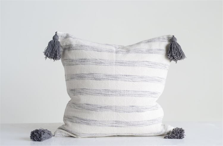 Cotton woven striped pillow with tassels da9899