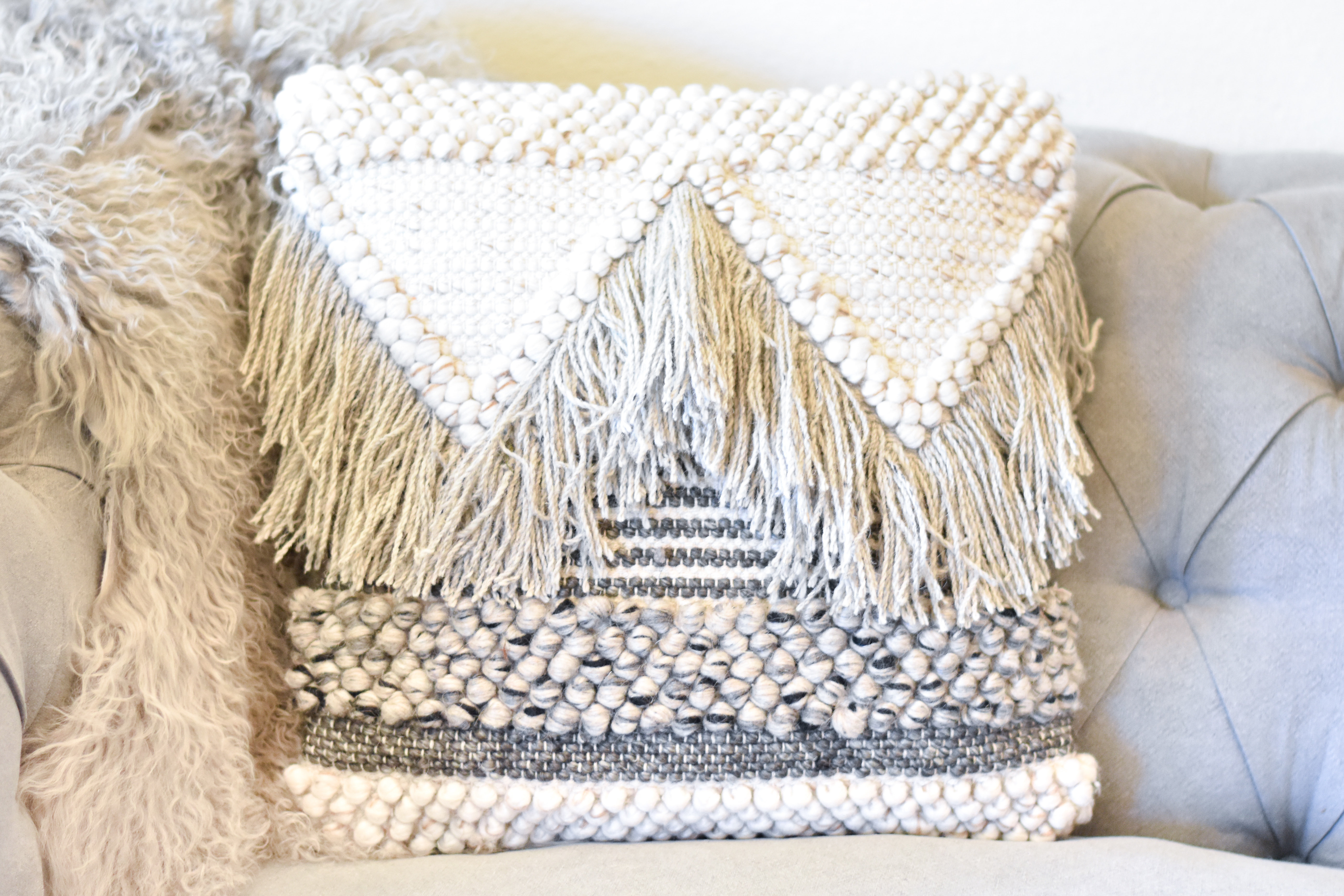 Square Textured Cotton pillow a14208520U1