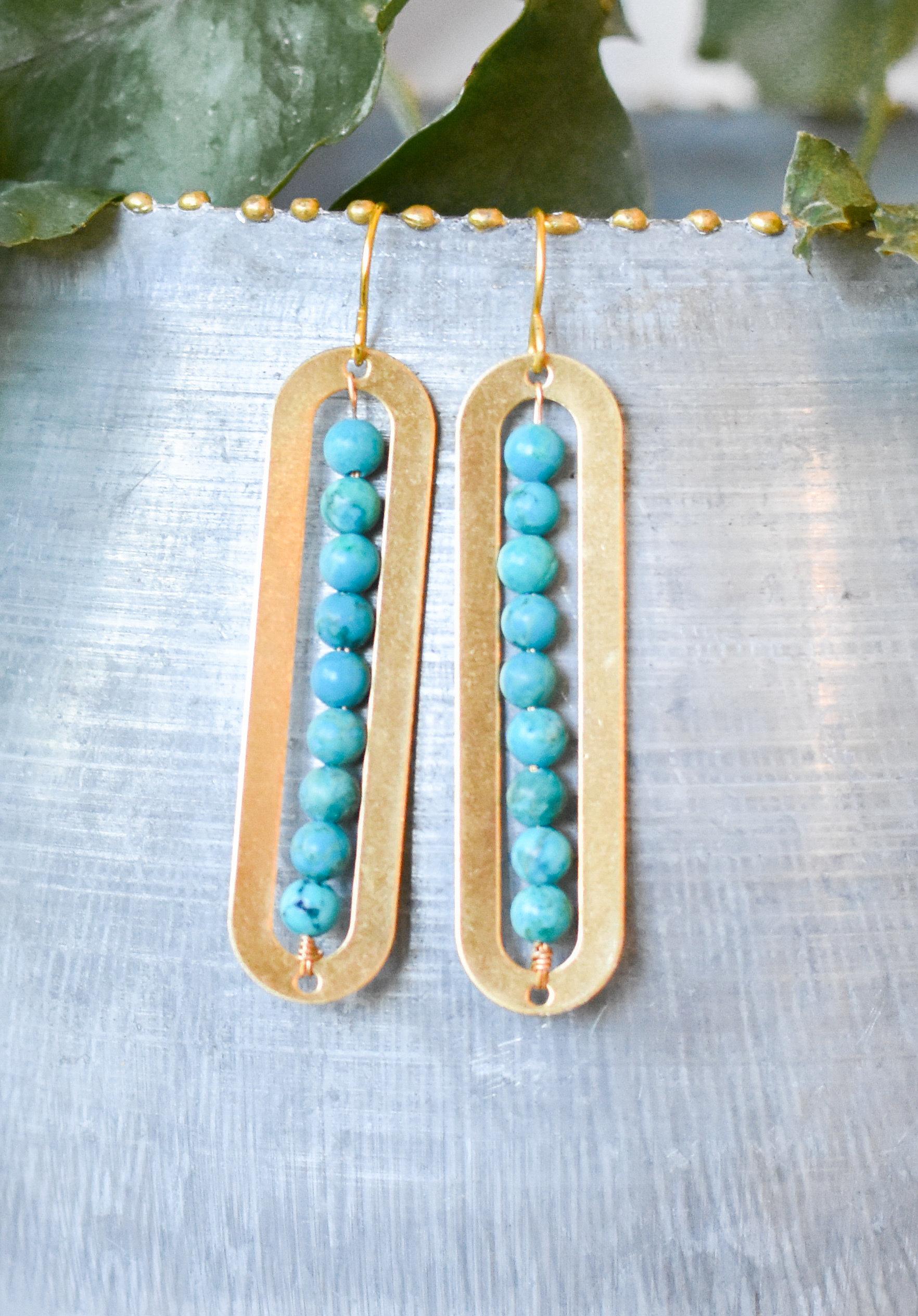 Howlite Turquoise Linear Brass Earring TA4TNKKSBJFE8