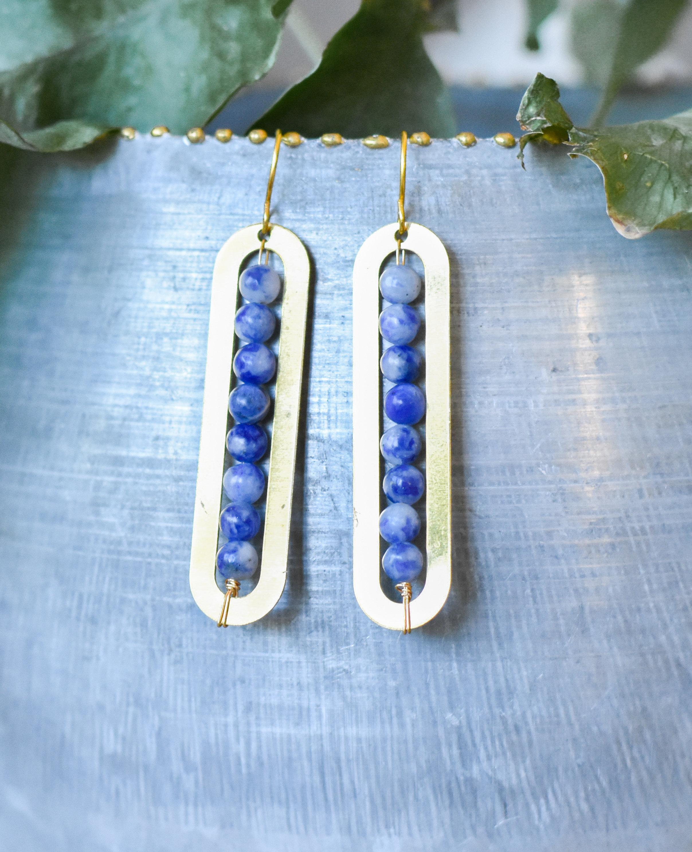 pink/blue and white Soladite Gem Linear earring 7438EHW47AYVA
