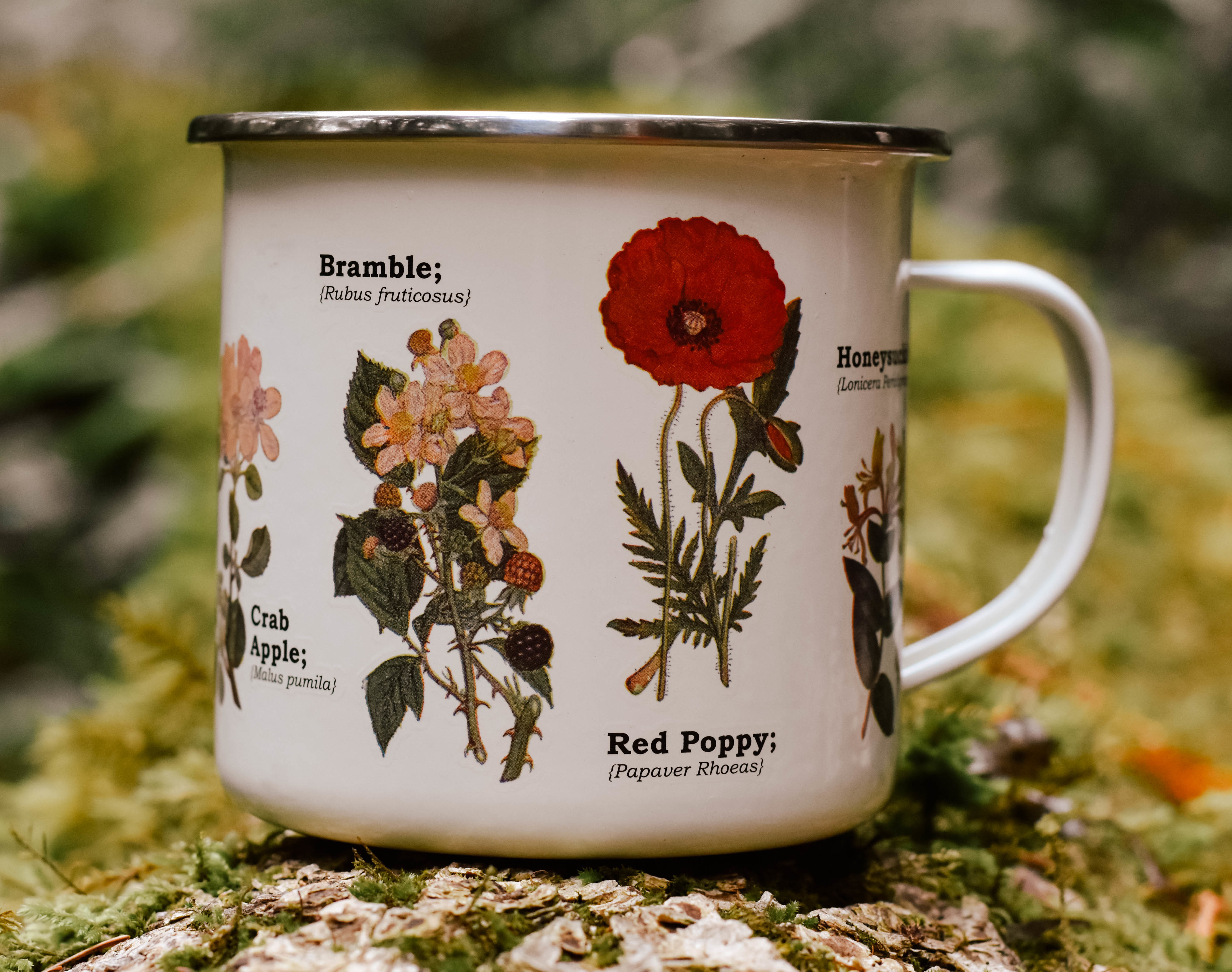 wild flower enamel mug