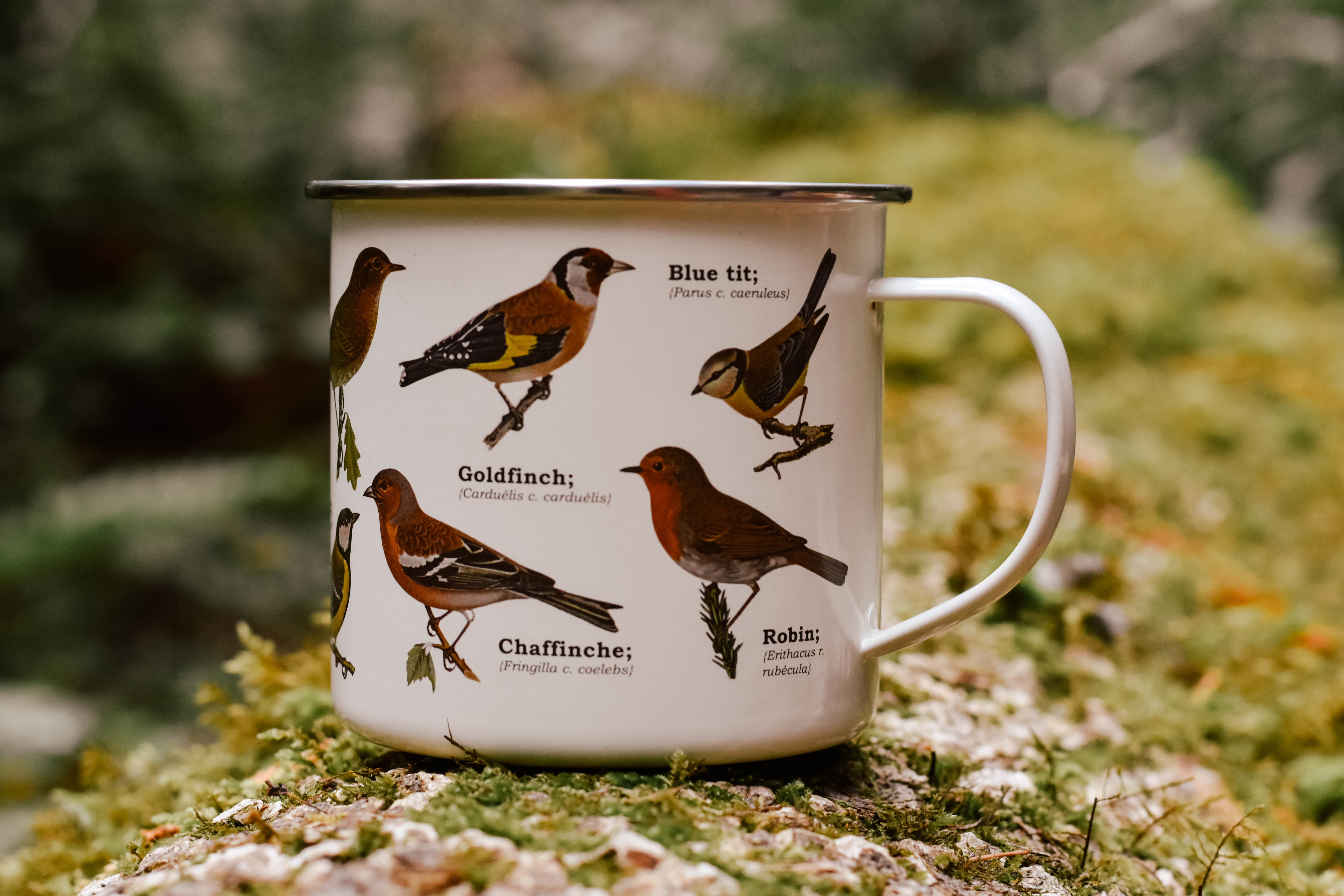 birds enamel mug