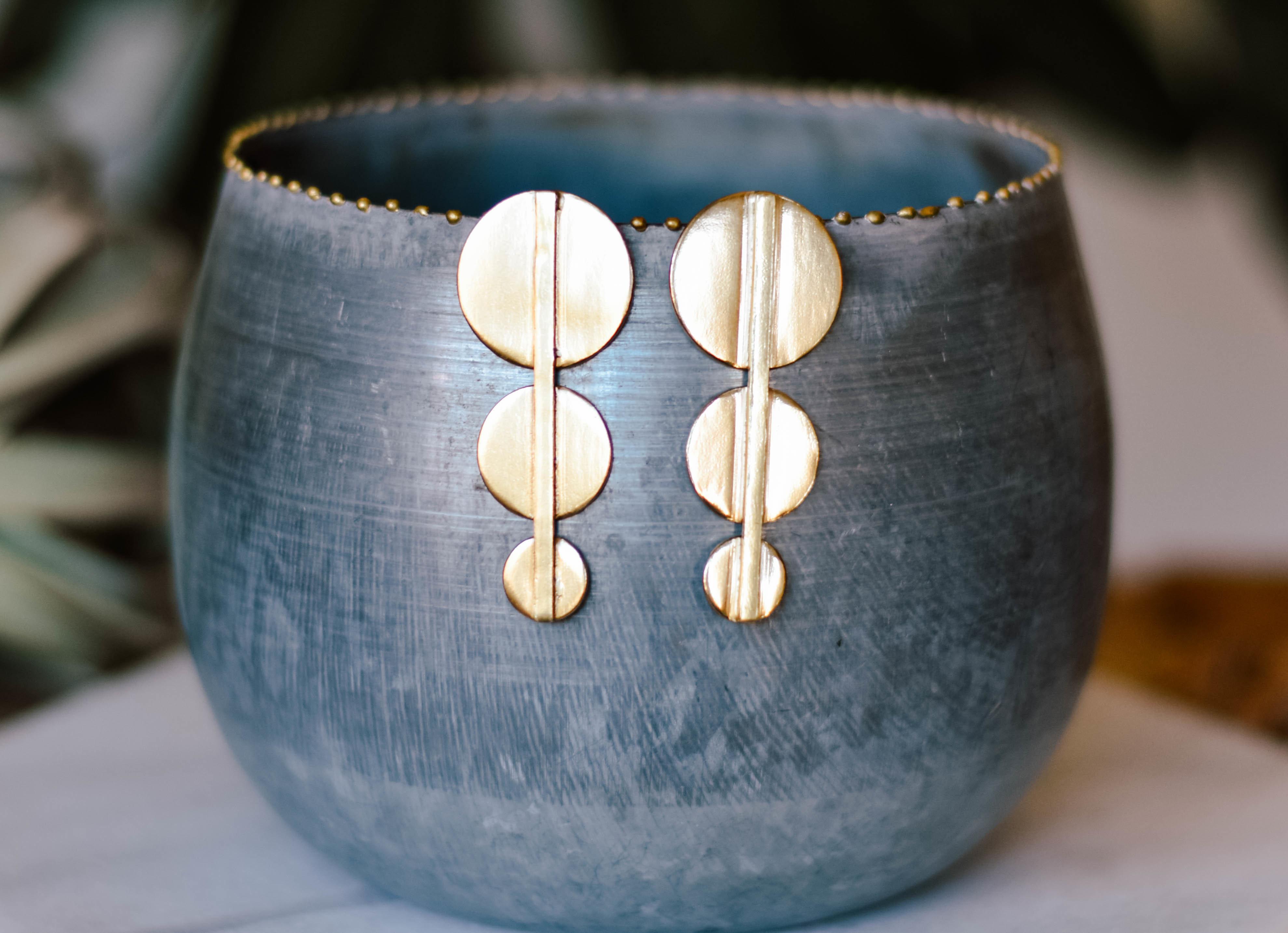 brass bar and Circle earrings Brer7001 AJNX0Q2VEMEXA