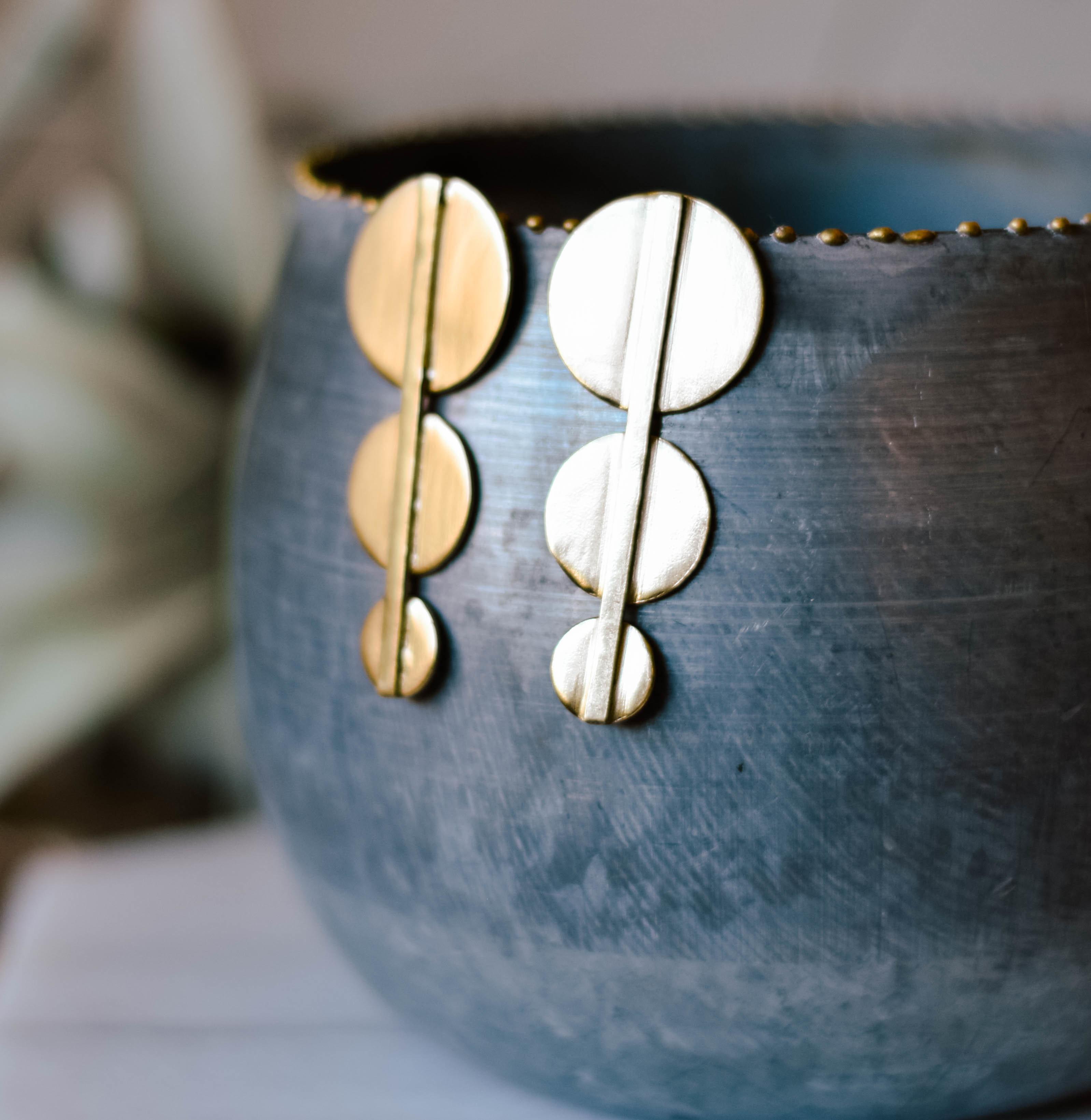 brass bar and Circle earrings Brer7001