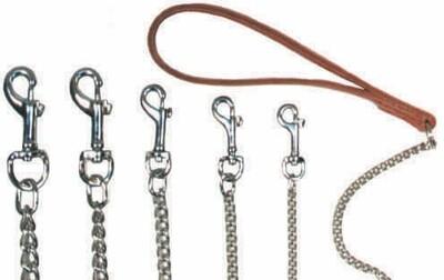 Chain Dog Lead - Leather Handle