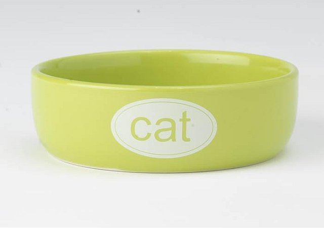 Cat Bowl - Ceramic Lime 1cup 00168