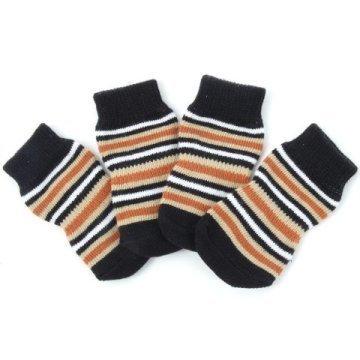 Indoor dog socks. Brown/beige stripes 00179
