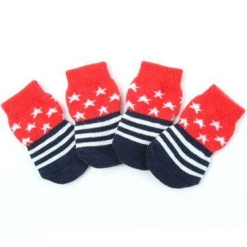 Indoor dog socks - Red Stars 00098