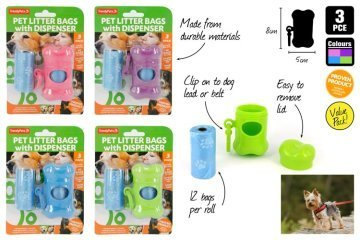 3pc Dog Clean-up Bags and Dispenser