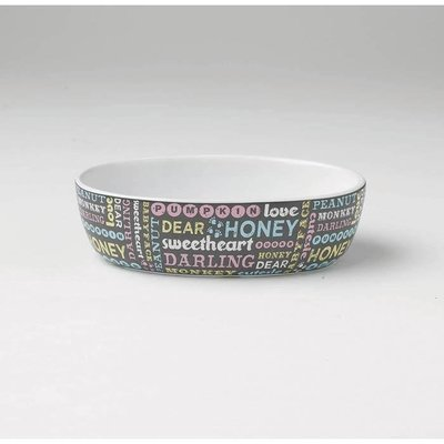 Pet Names OVAL PET BOWL Grey 2 Cups