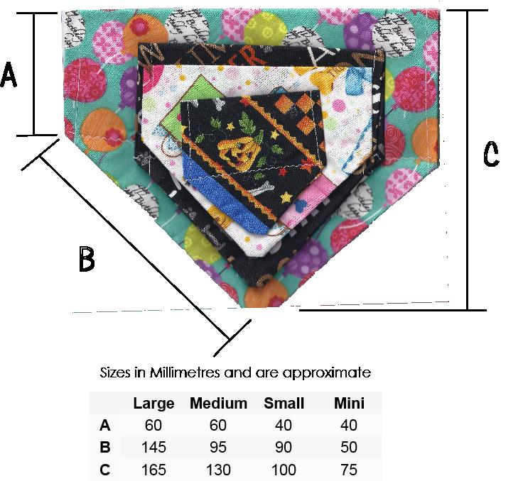 bandanna sizes chart.