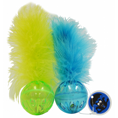 Cat toy Lattice Ball with Feathers 2 pack.