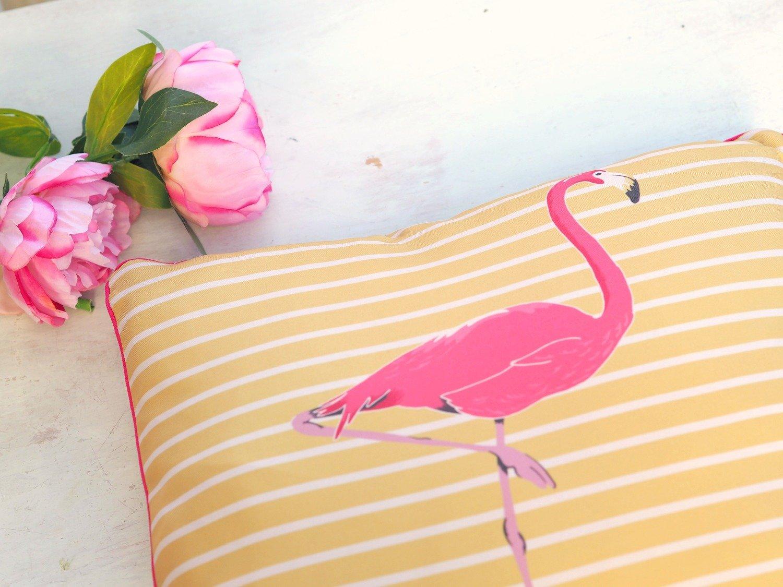 Yellow Striped Flamingo Cushion