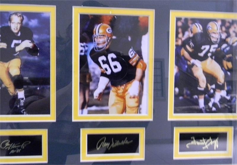 Hornung, Nitschke, and Gregg photos with autographs