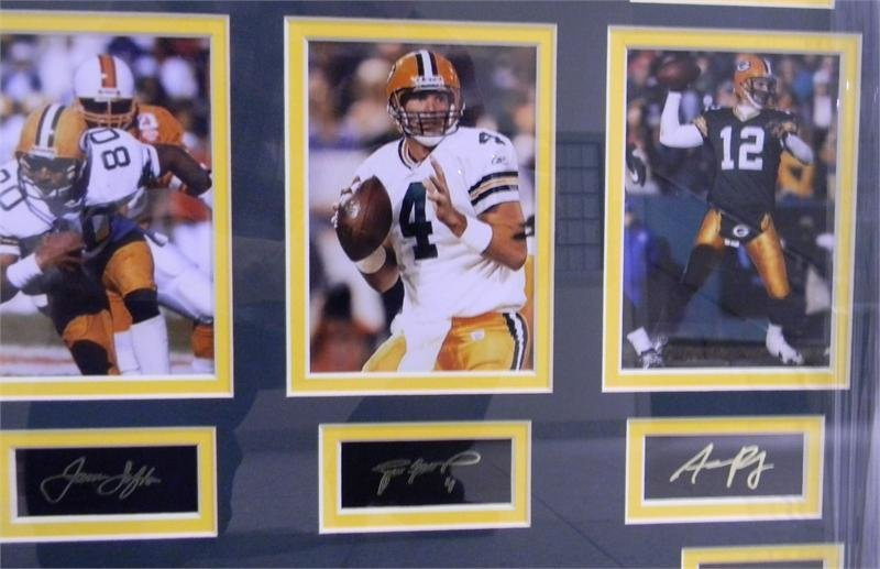 Lofton, Favre, and Rodgers photos with autographs