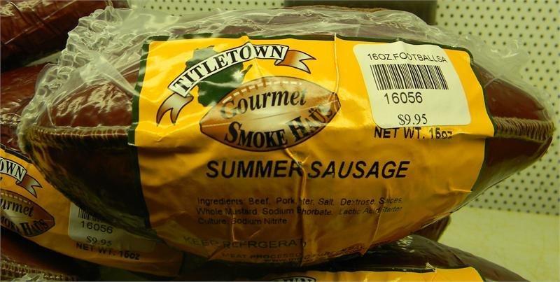 Titletown Gourmet Smoke Haus 16oz Summer Sausage Football 00048