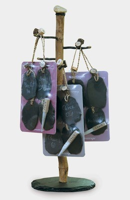 Slate tags w/chalk, Set of 4