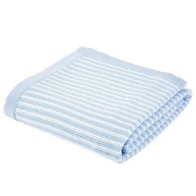 Classic Blue and White Striped Baby Blanket