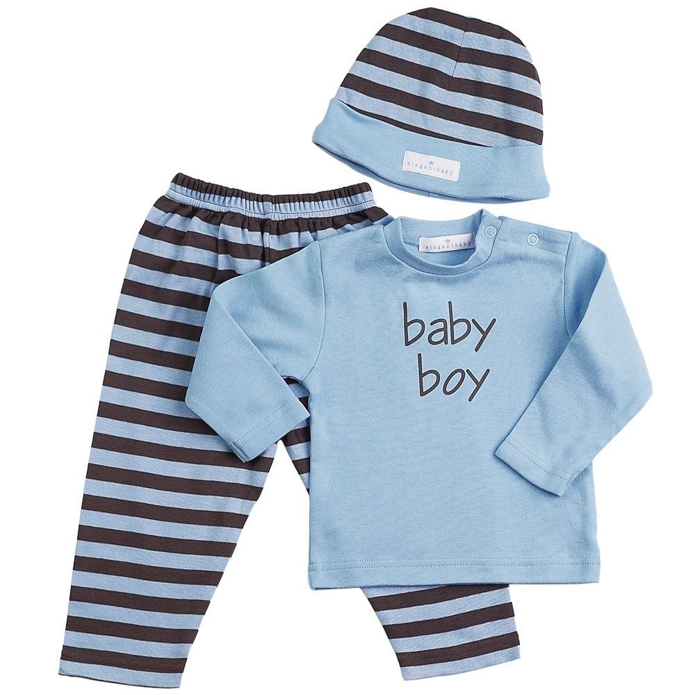 Chocolate w/Blue Stripes 3-Piece Fashion Set