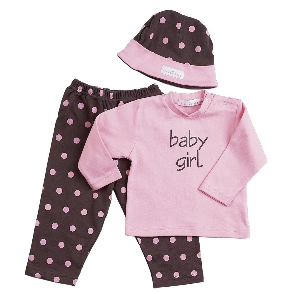 Chocolate w/Pink Polka Dots 3-Piece Fashion Set