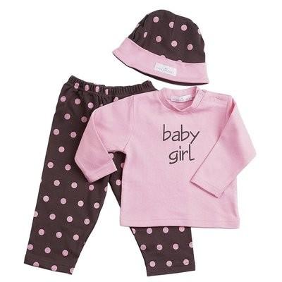 Chocolate w/Pink Polka Dots 3-Piece Fashion Set