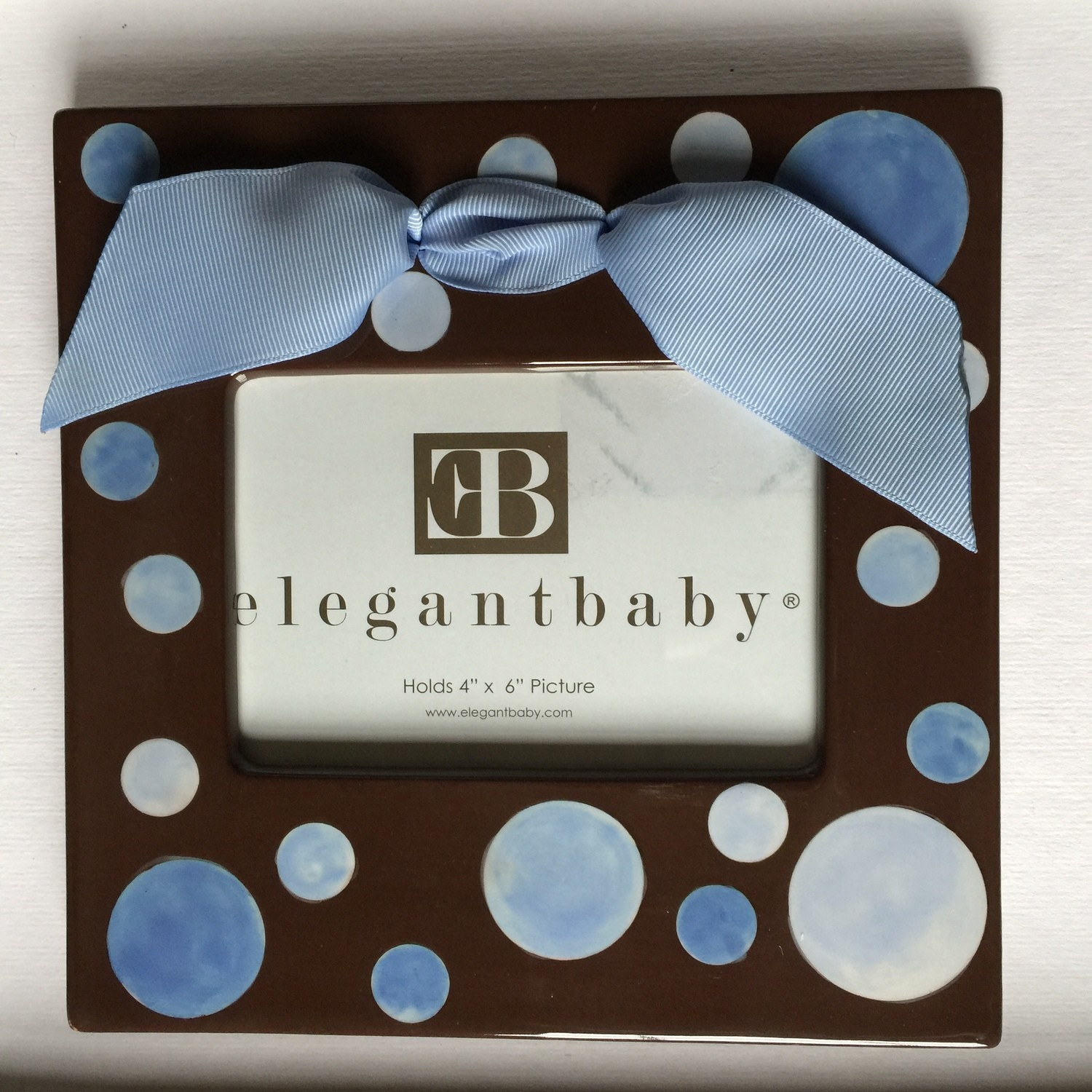 Ceramic Hand-Painted Blue Polka Dot Picture Frame