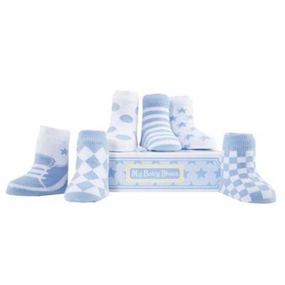 Bold In Blue, Set of 6 Baby Socks