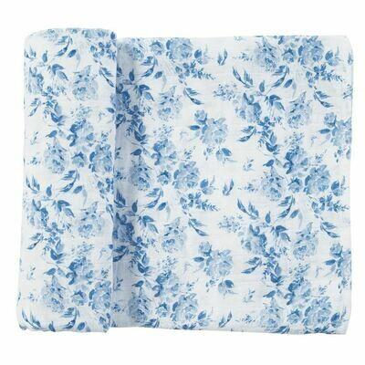 Blue Rose Muslin Swaddle Blanket