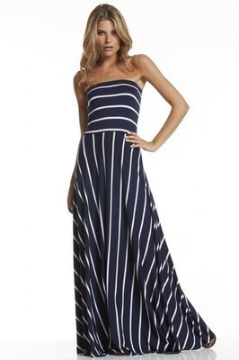 Navy & White Striped Maxi Dress