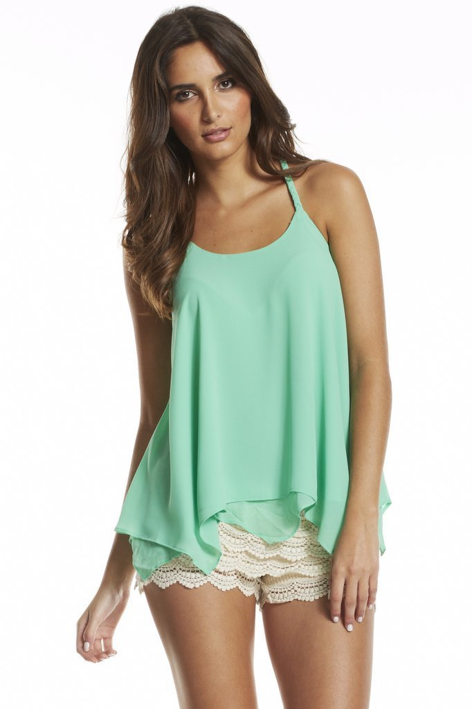 Flowing Tank w/Braided Straps - Mint