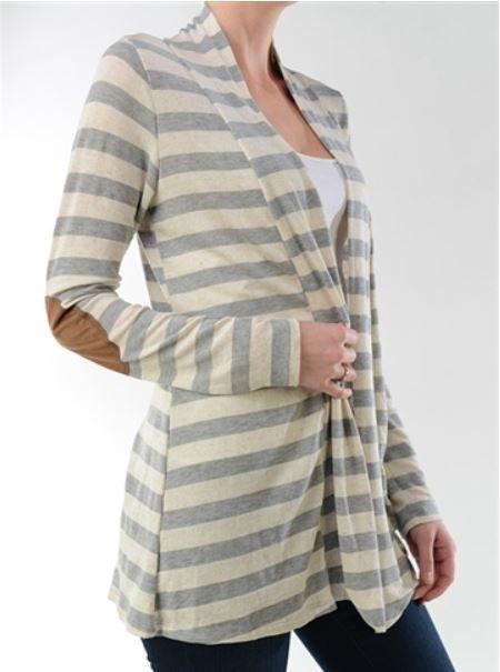 Striped Cardigan w/Suede Elbow Patch