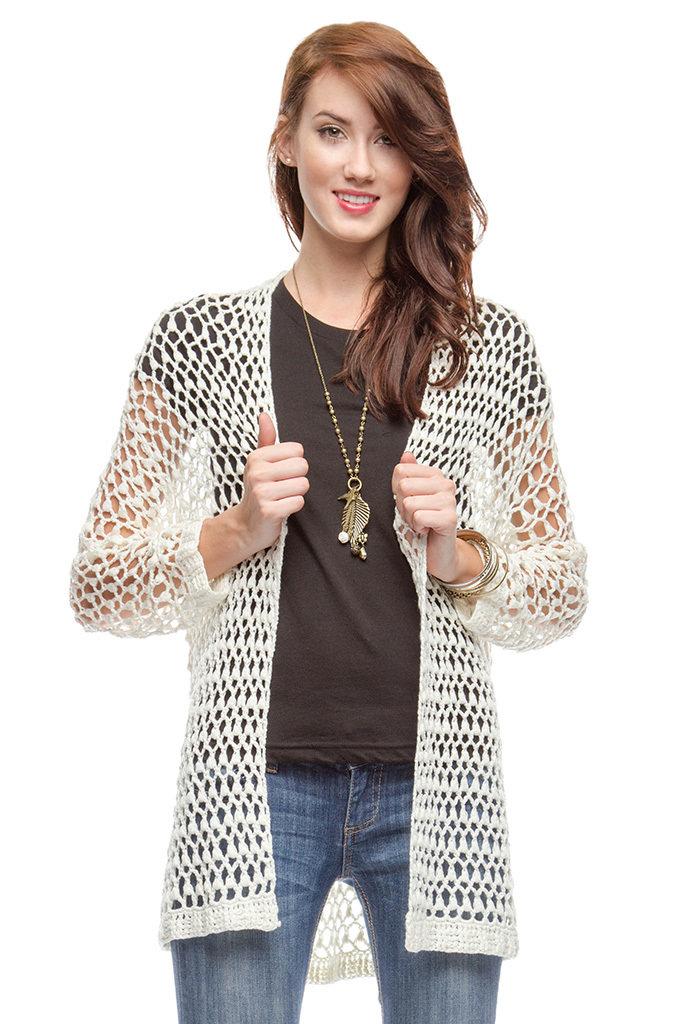 Long Sleeve Open Knit Cardigan