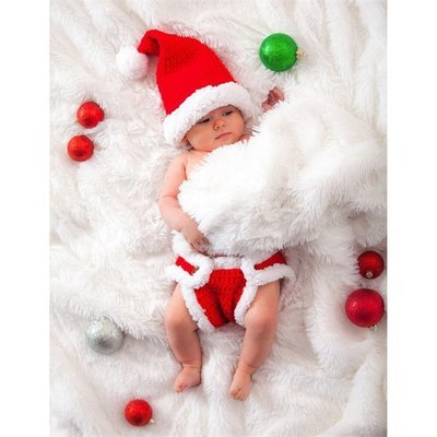 Santa's Little Helper Newborn Knit Hat and Diaper Cover Set