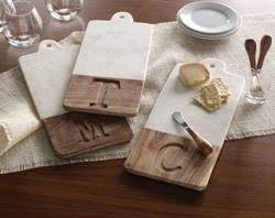 Mud Pie Marble and Wood Initial Serving Board Set